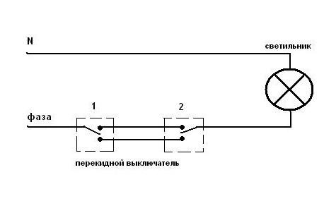 Установка выключателя, схемы подключения выключателя и переключателя.
